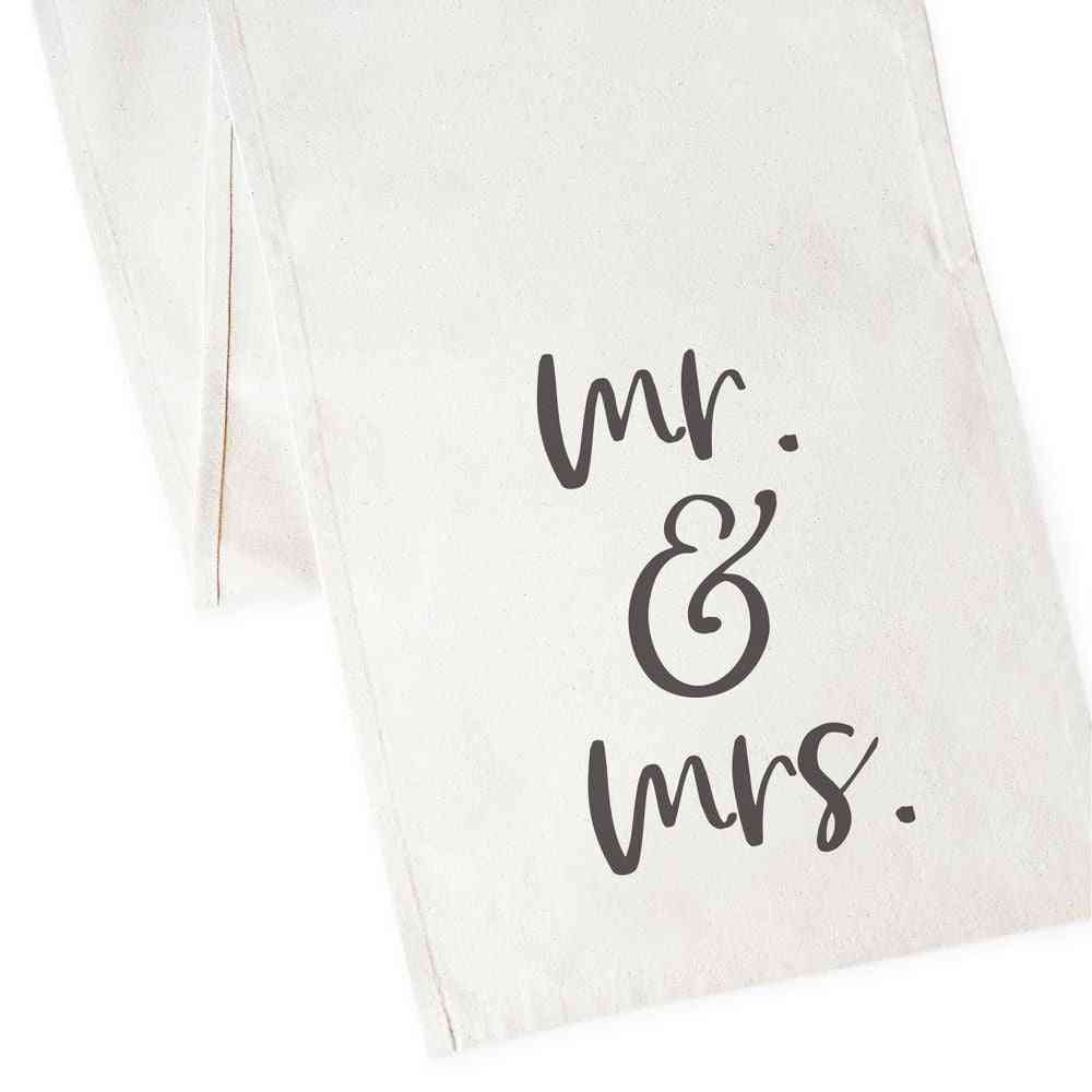 Mr. And Mrs. - Cotton Canvas Table Runner