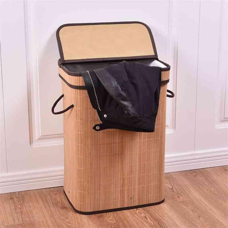 Rectangular Bamboo Laundry Basket