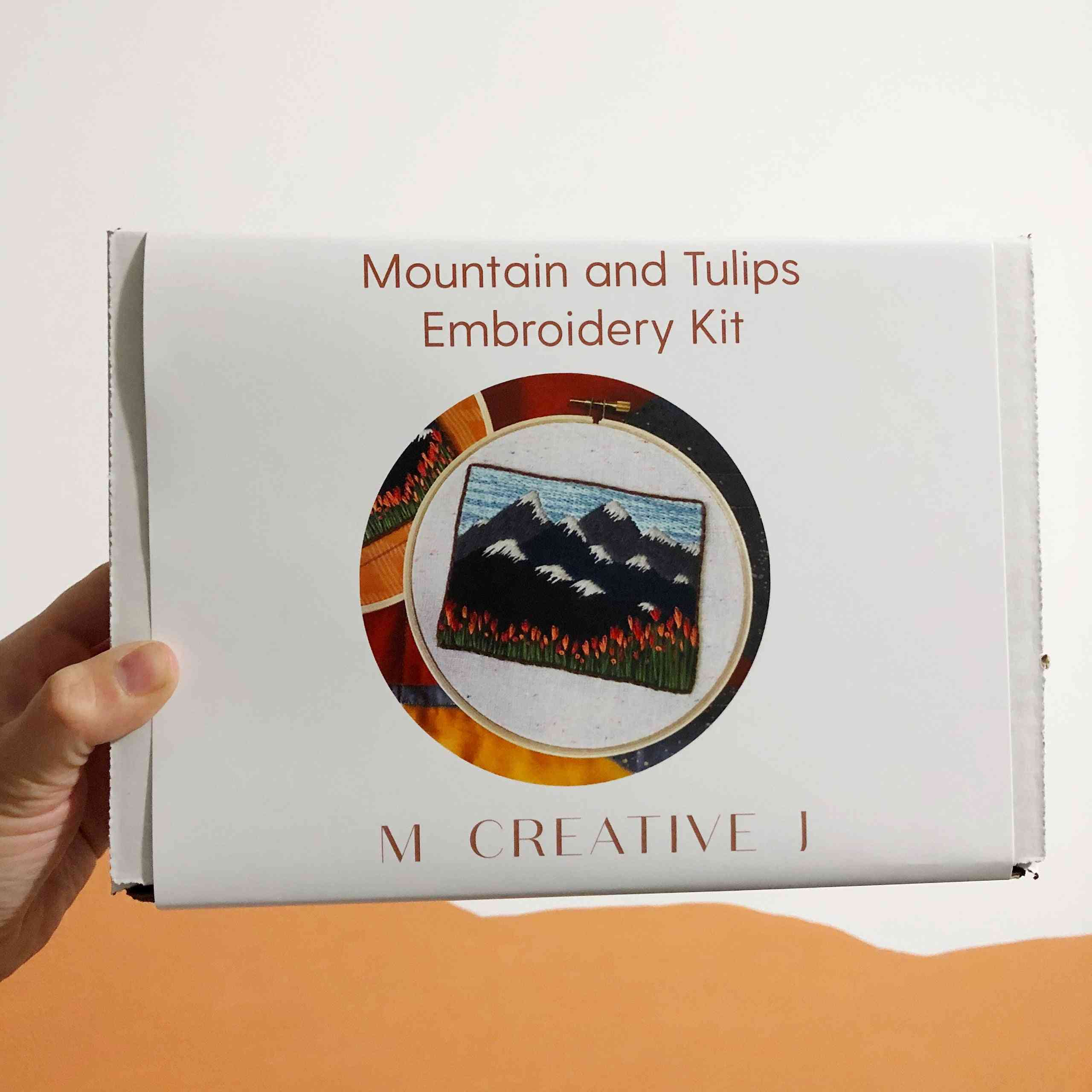 Mountain Landscape With Tulips Diy Beginner Embroidery Kit
