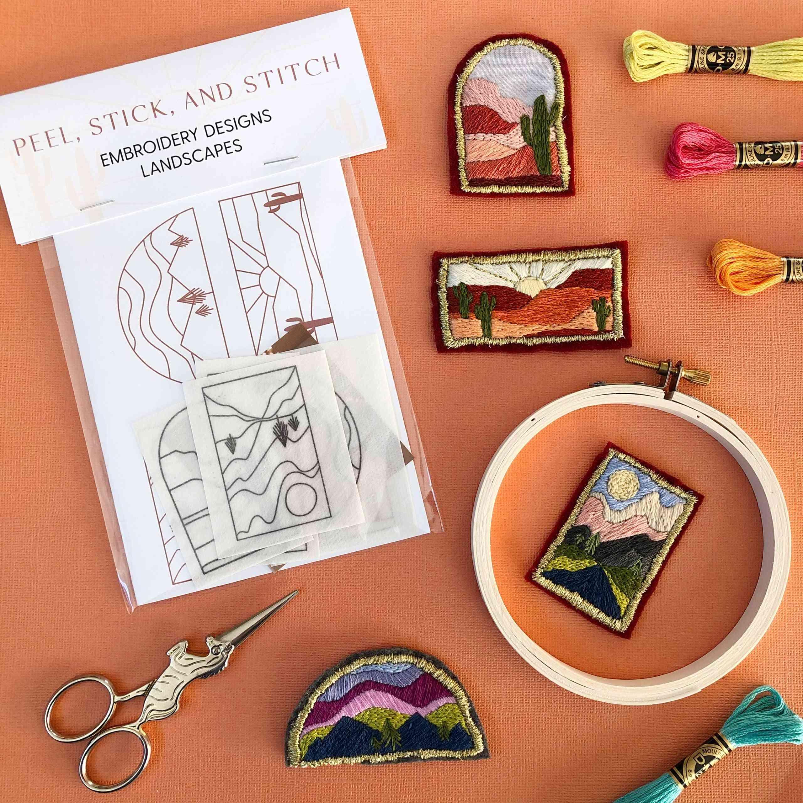 Diy Embroidery Pattern. Peel Stick And Stitch Landscape Designs