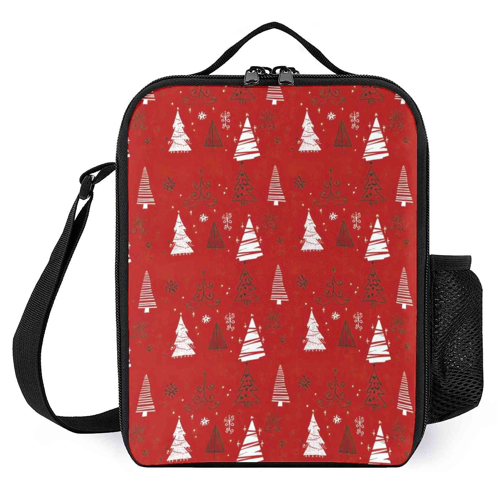 Hand Drawn Christmas Trees Pattern Printed Lunch Bags