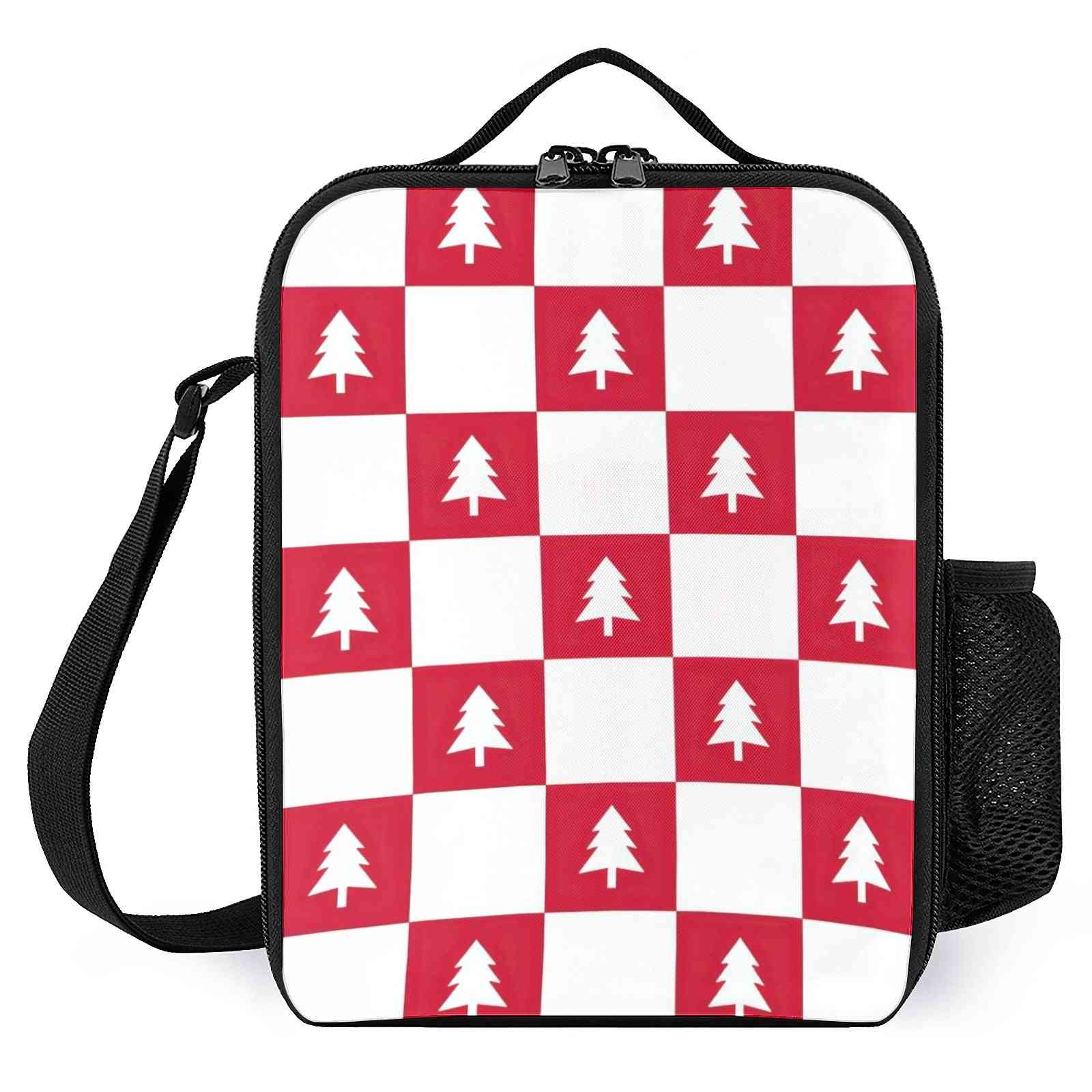 Christmas Tree Checkered Pattern-kid,s Lunch Cooler Bags
