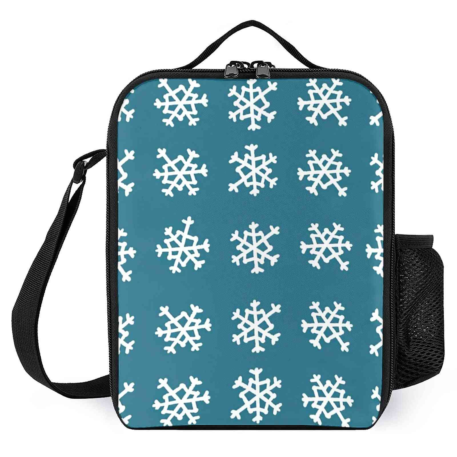 Snowflakes Printed Reusable-insulated Lunch Cooler Bags