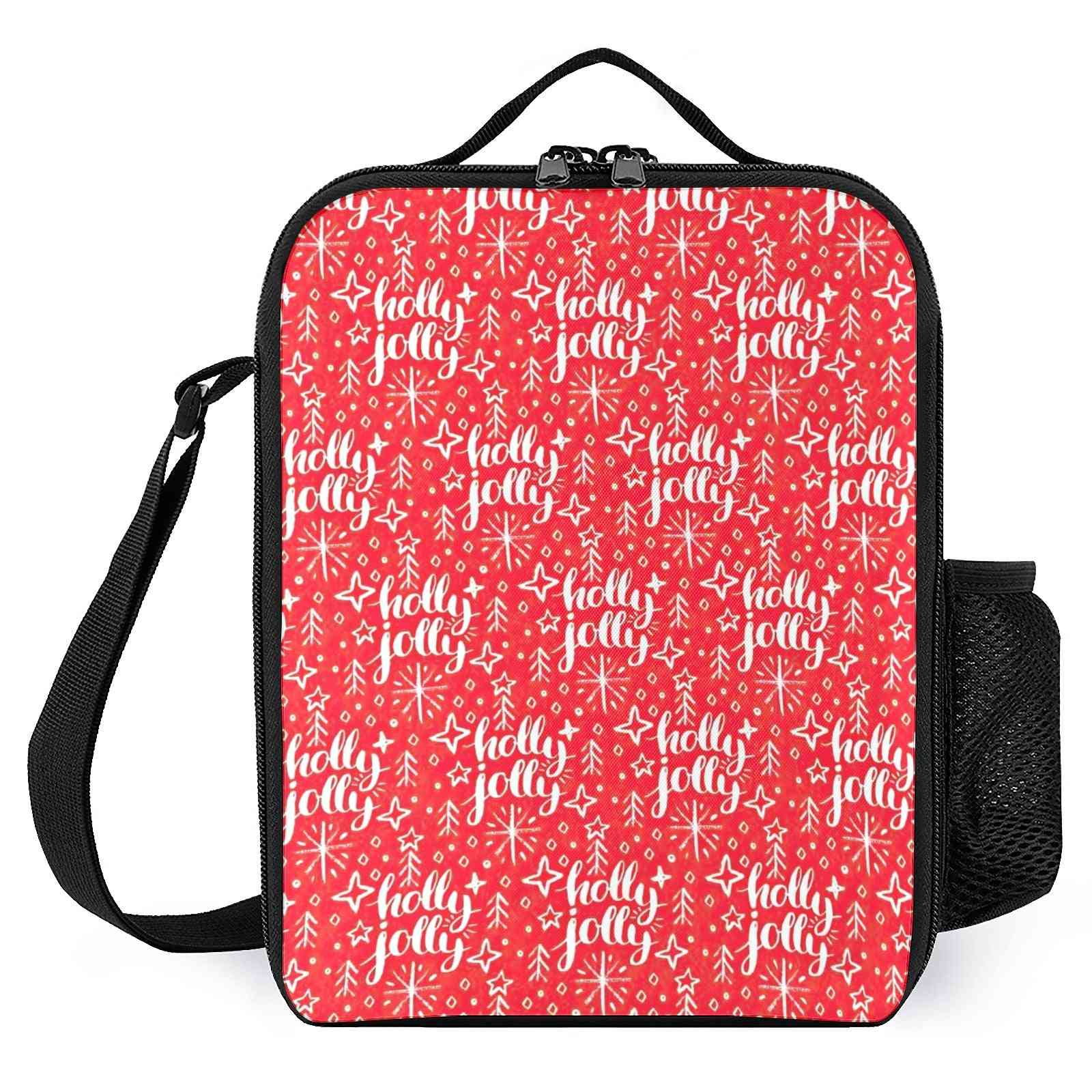 Christmas Pattern, Holly Jolly Printed Lunch Bags