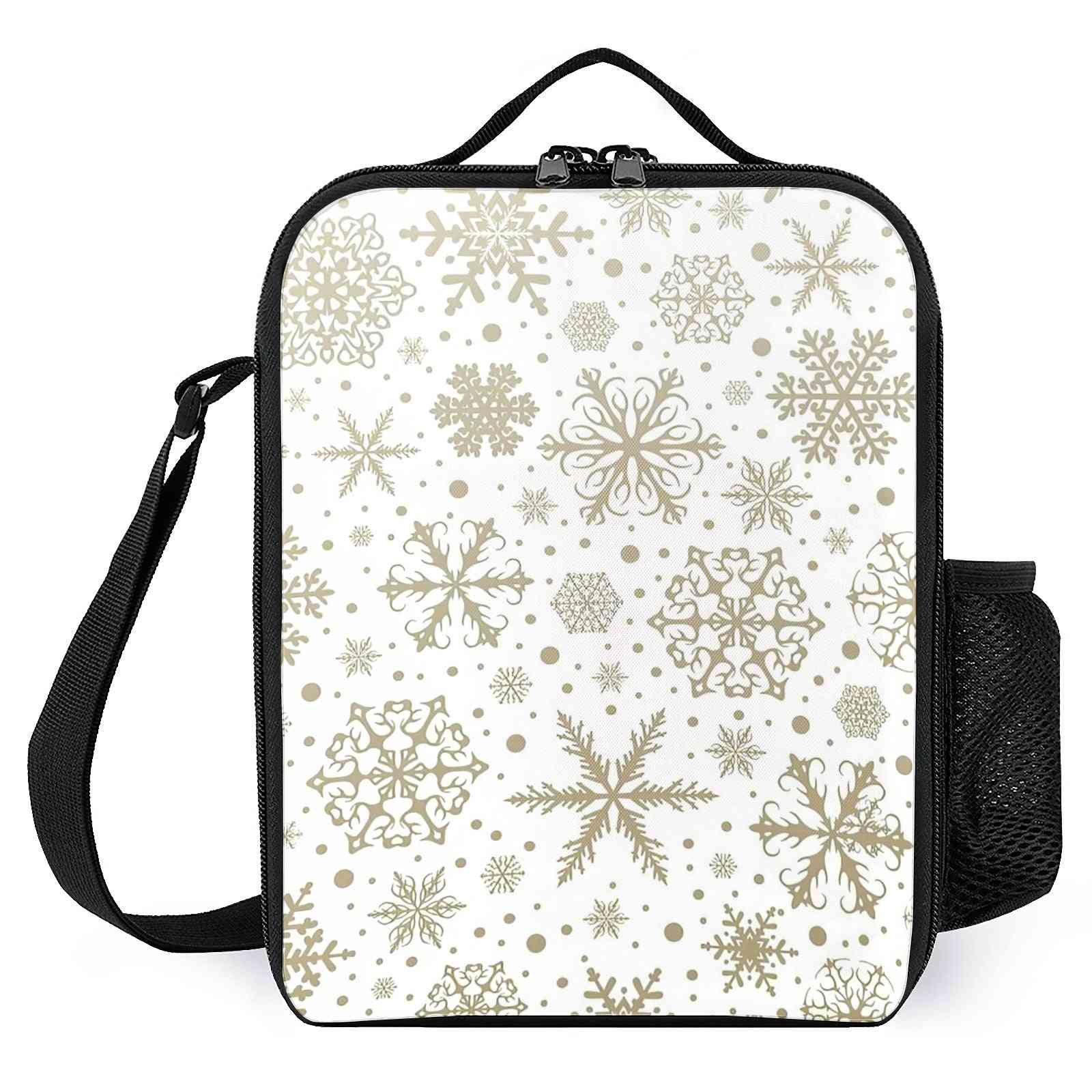 Christmas Snowflakes Printed Insulated Lunch Boxes