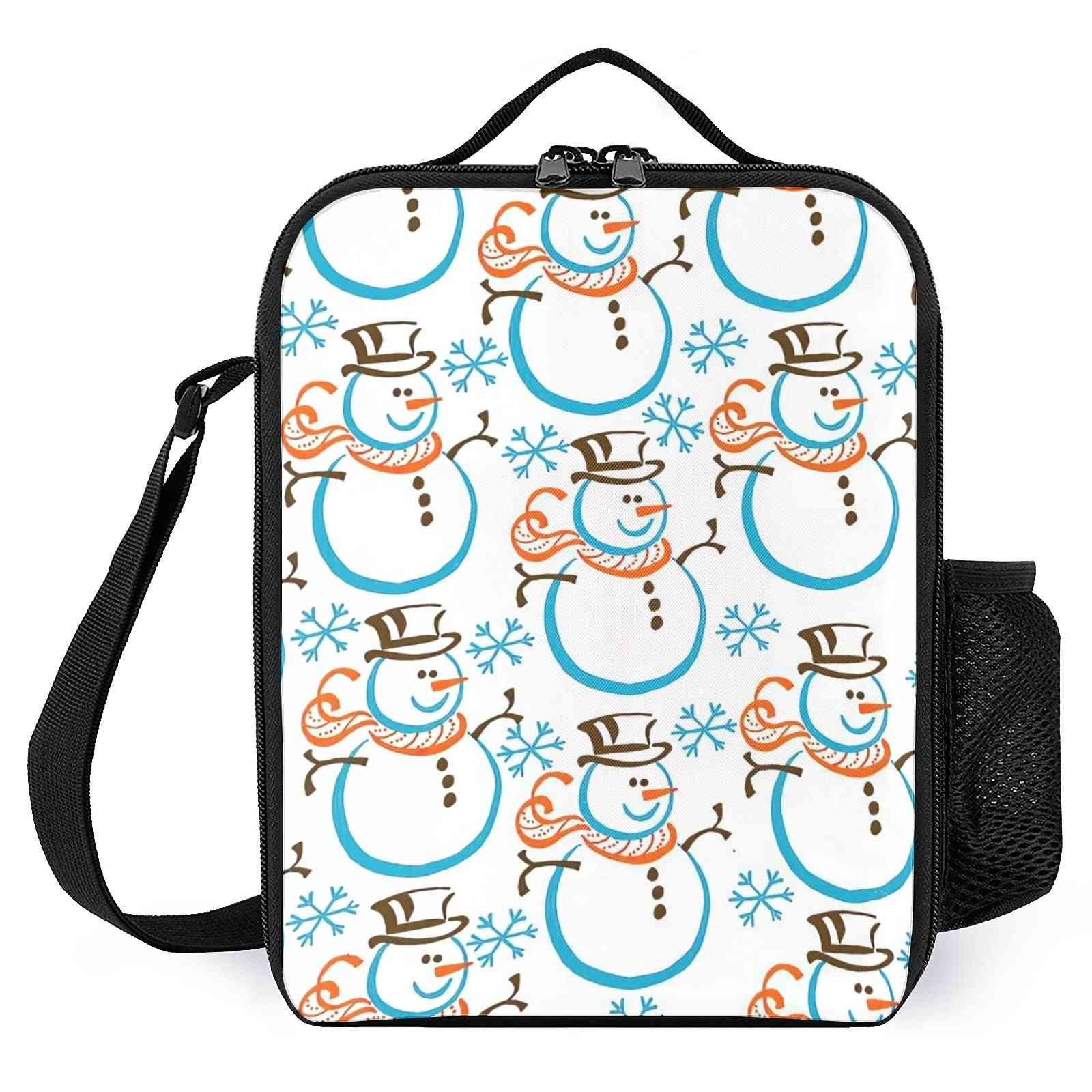 Snowman Printed Insulated Lunch Bags For Work/school