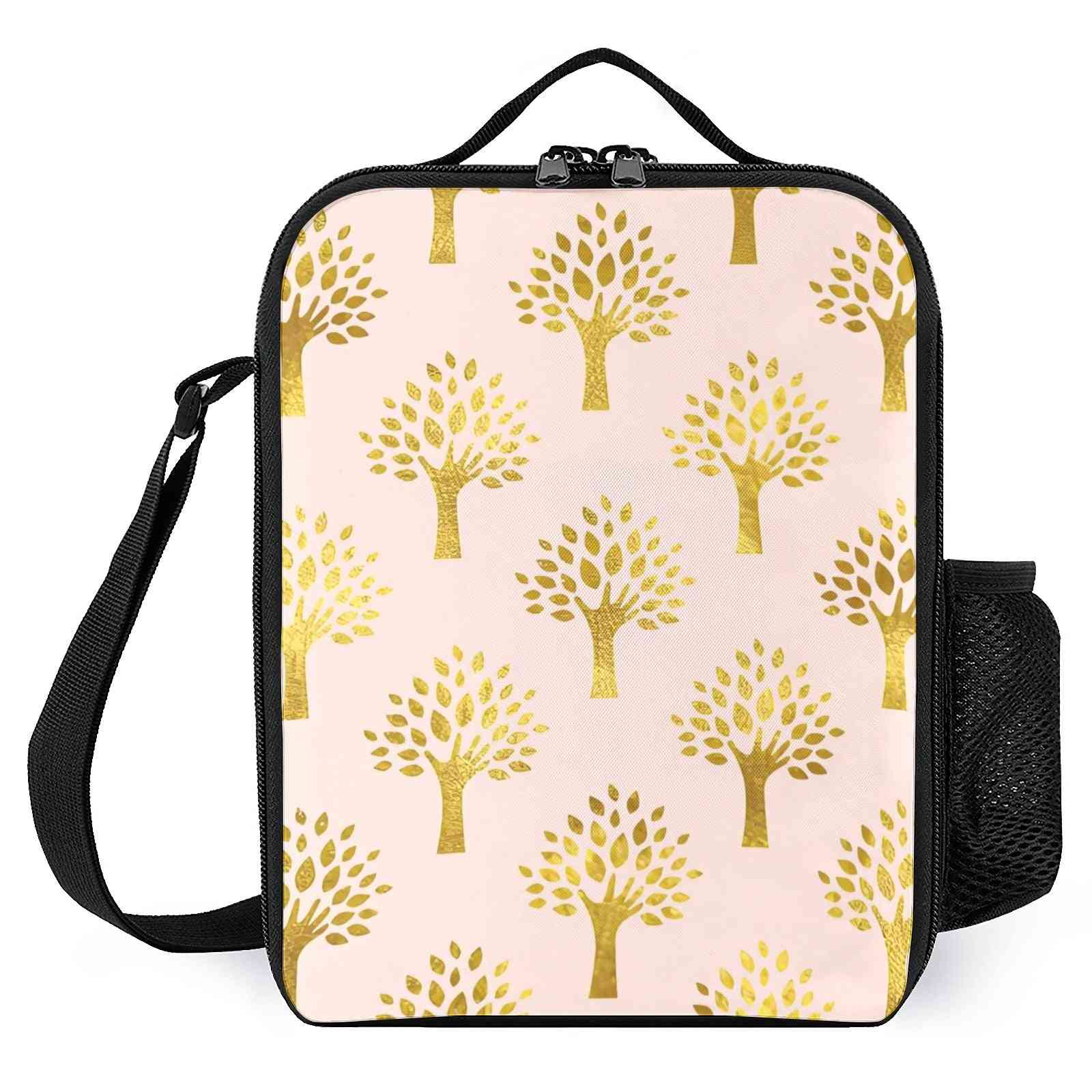 Pink Gold Foil Tree Printed-insulated Lunch Cooler Boxes