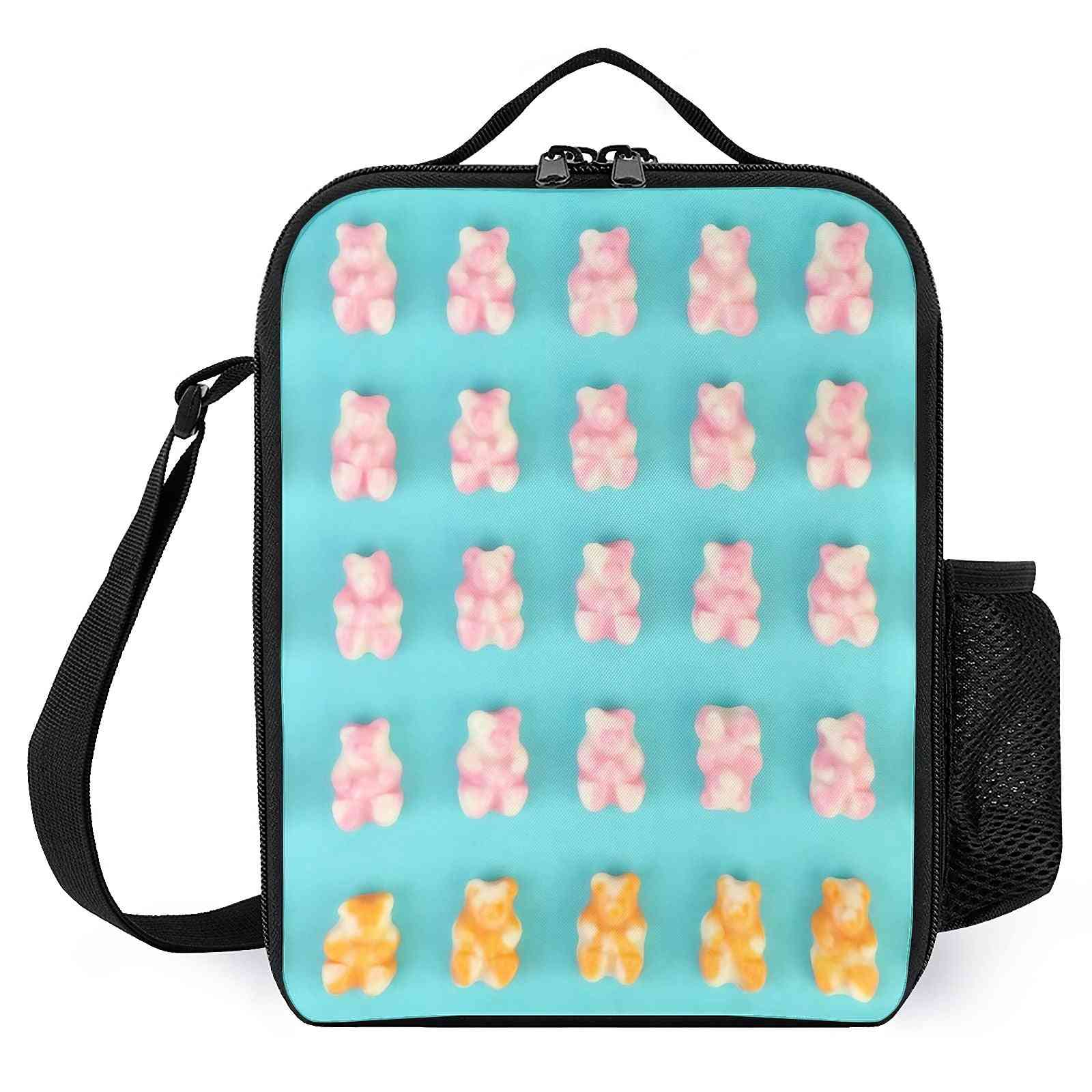 Pink Orange Candy Bears  Printed Lunch Bags