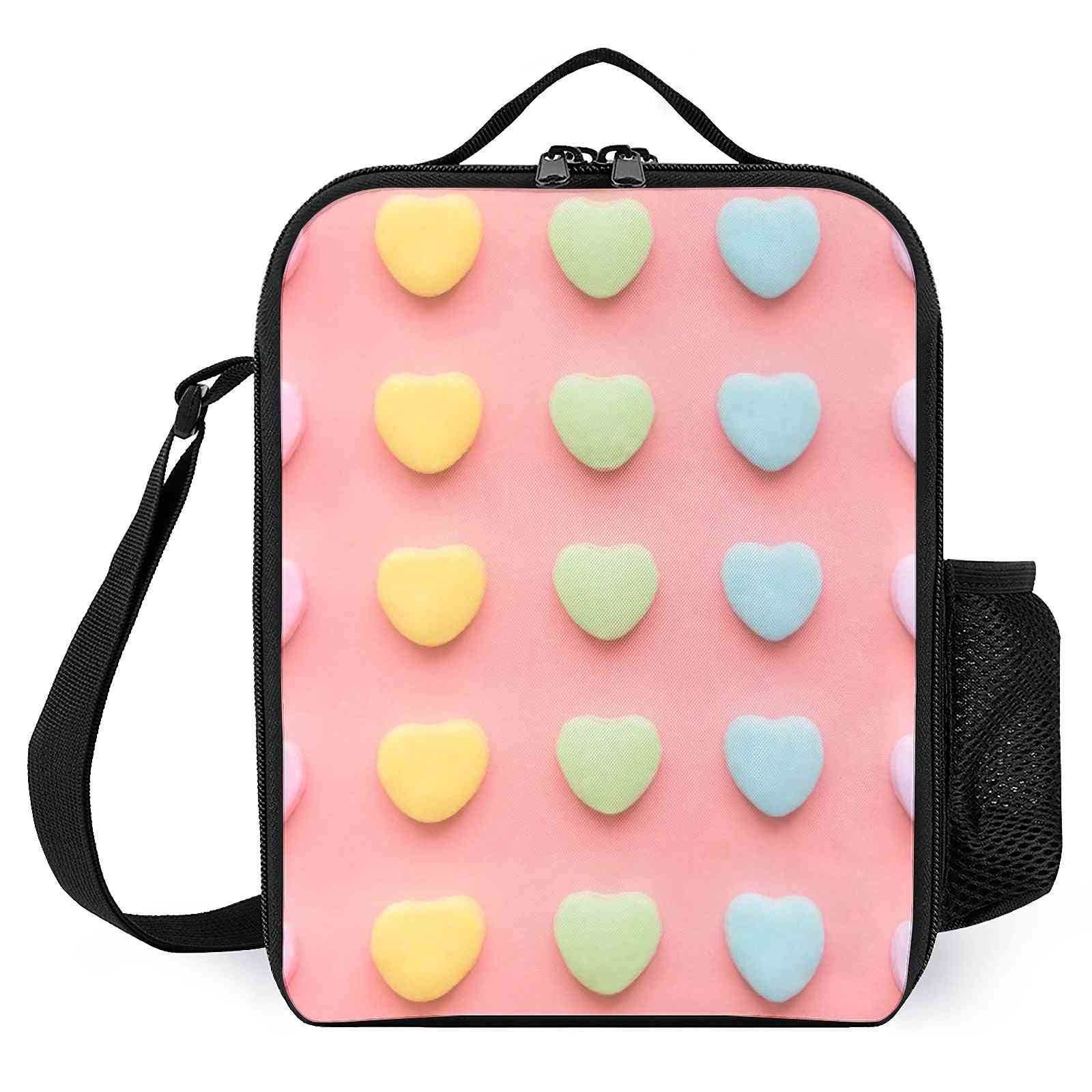Candy Hearts Portrait Printed Lunch Bags