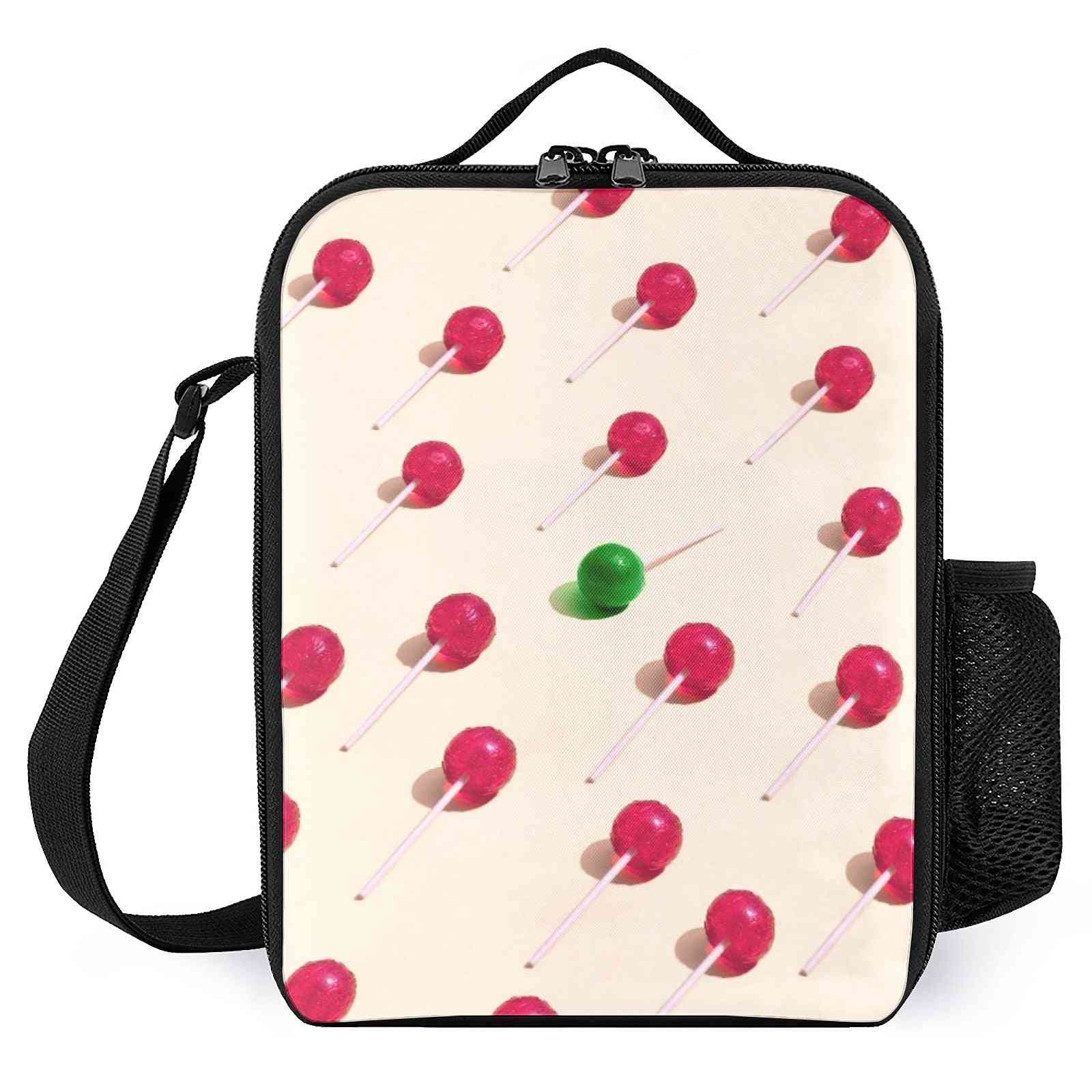 Red Green Lollipop Pattern Printed Lunch Bags