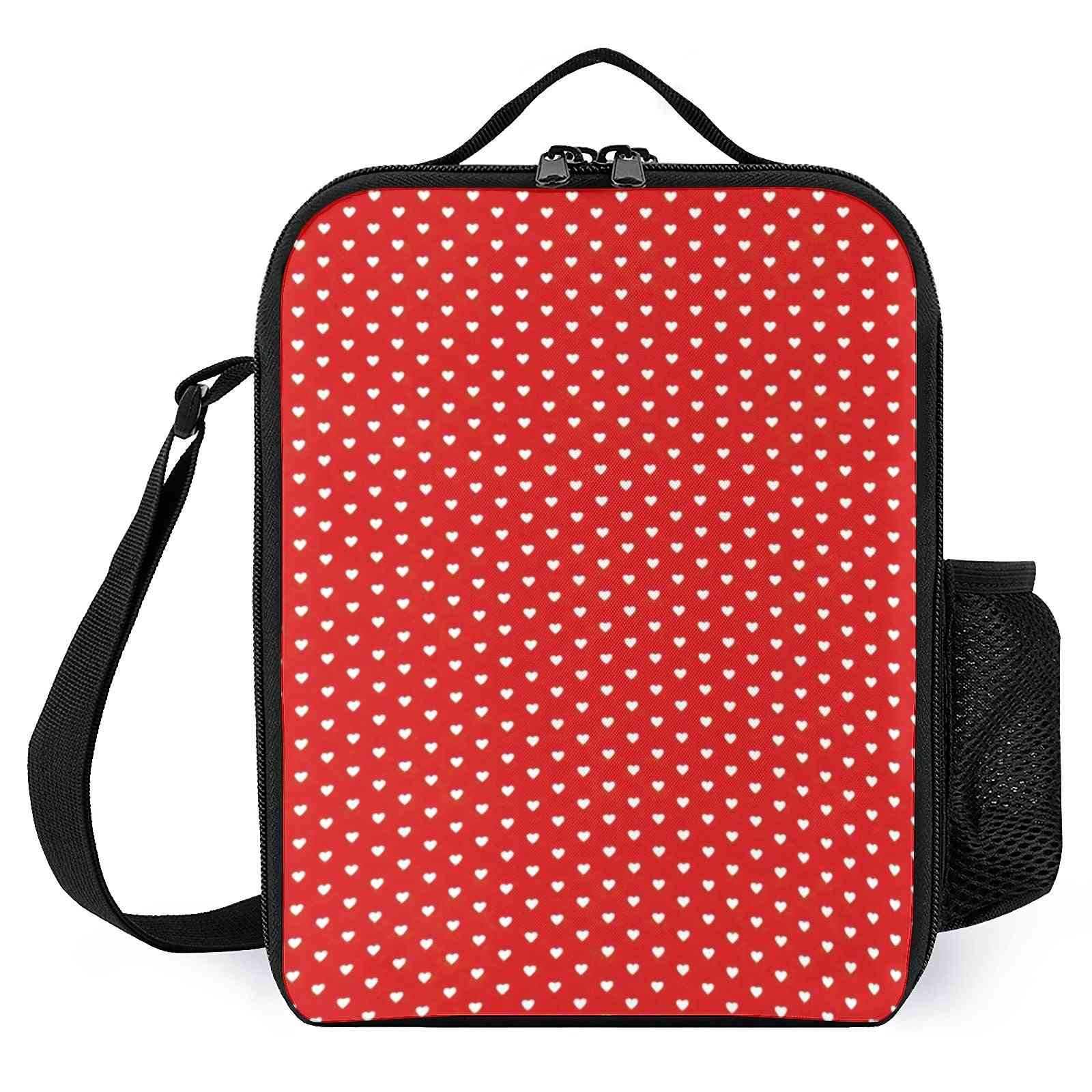 Small White Heart Pattern Printed Lunch Bags