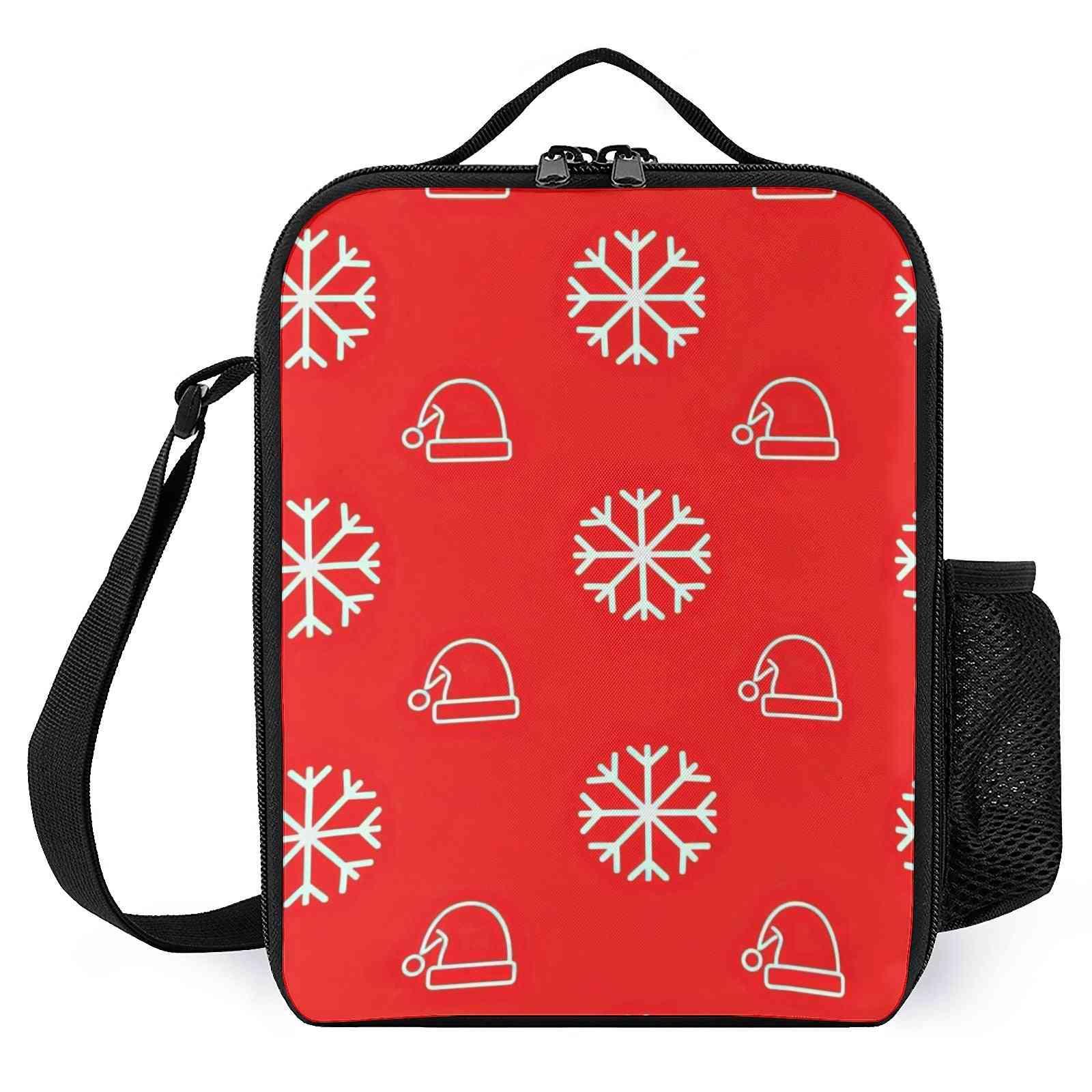 Snowflake And Santa Hat Printed Lunch Bags