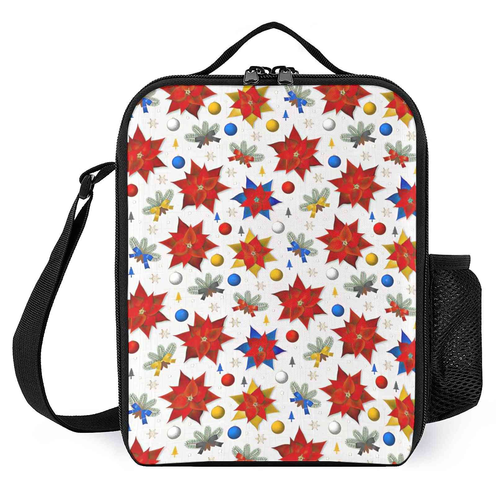 Christmas Poinsettias Plants Printed-reusable Lunch Box For School