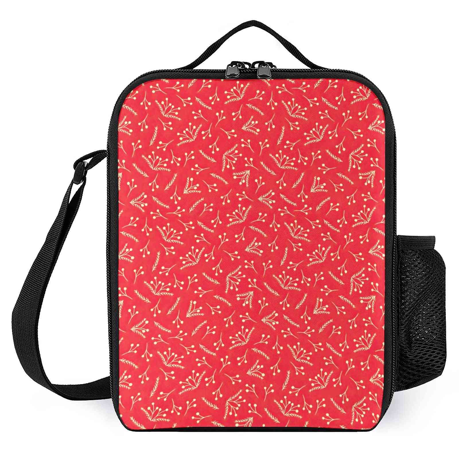 Christmas Branches And Berries Printed-reusable Lunch Cooler Bags