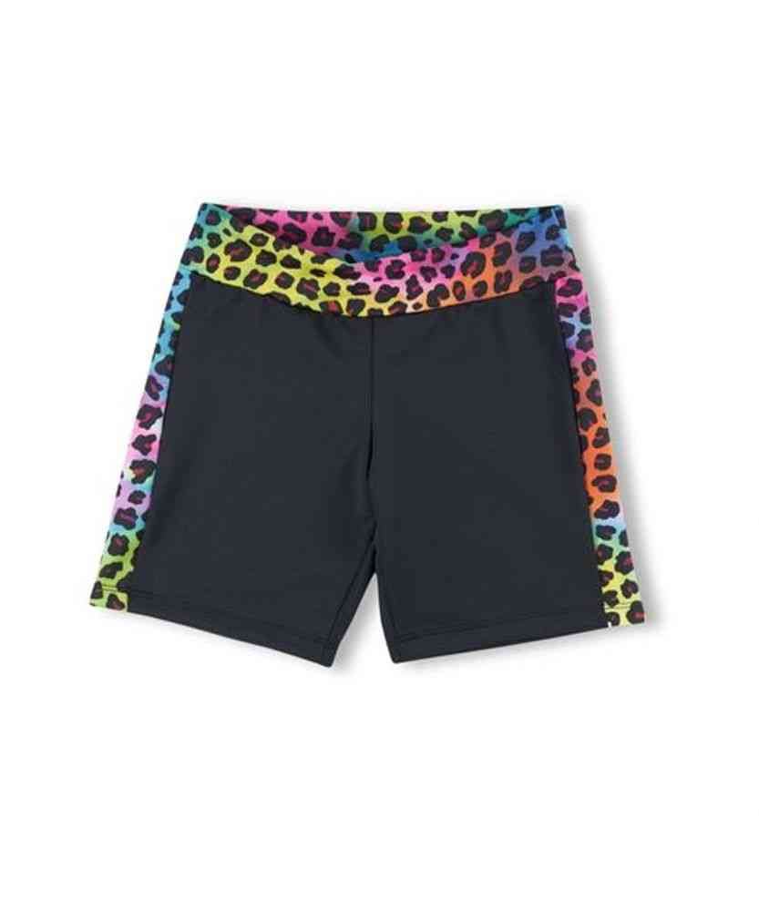 Rainbow Leopard Pattern Bike Shorts