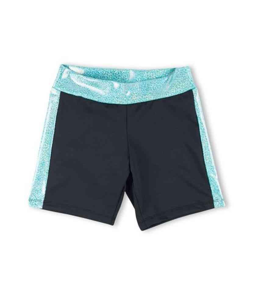 Black Bike Shorts With Sparkly Marine Metallic