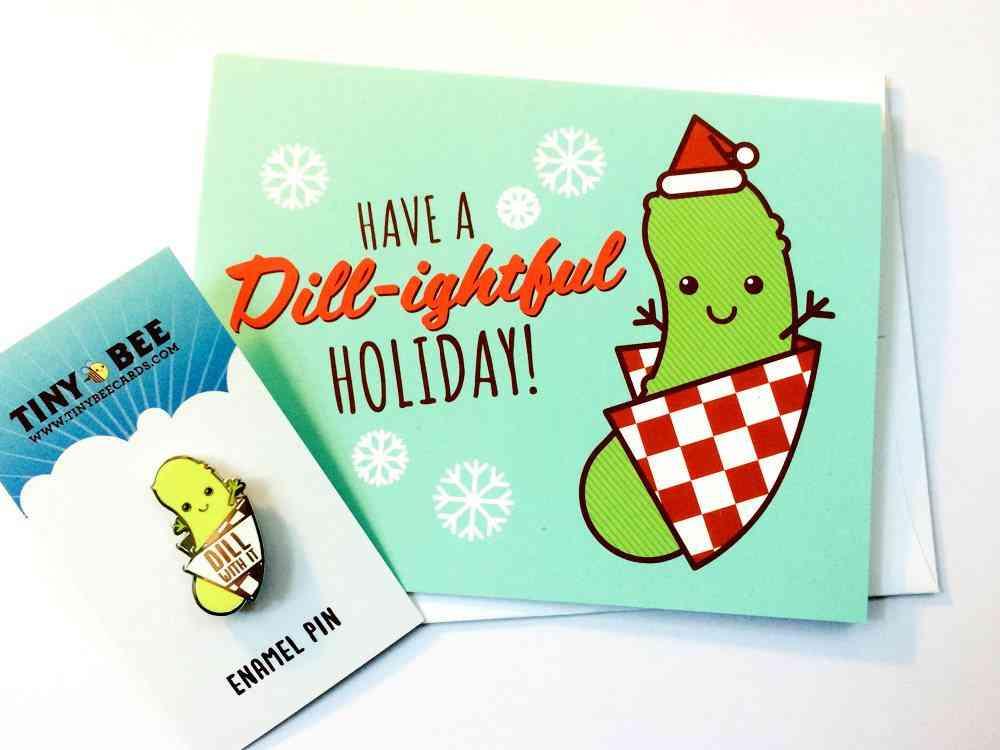 Funny Dill Pickle Enamel Pin & Christmas Card Bundle