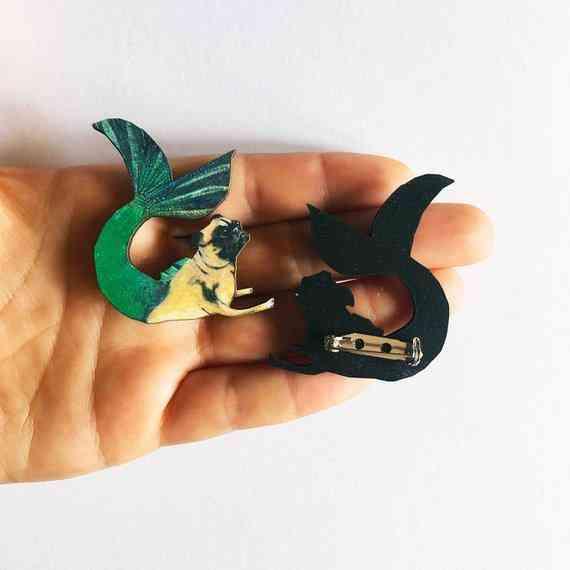 Mermaid Pug Pin