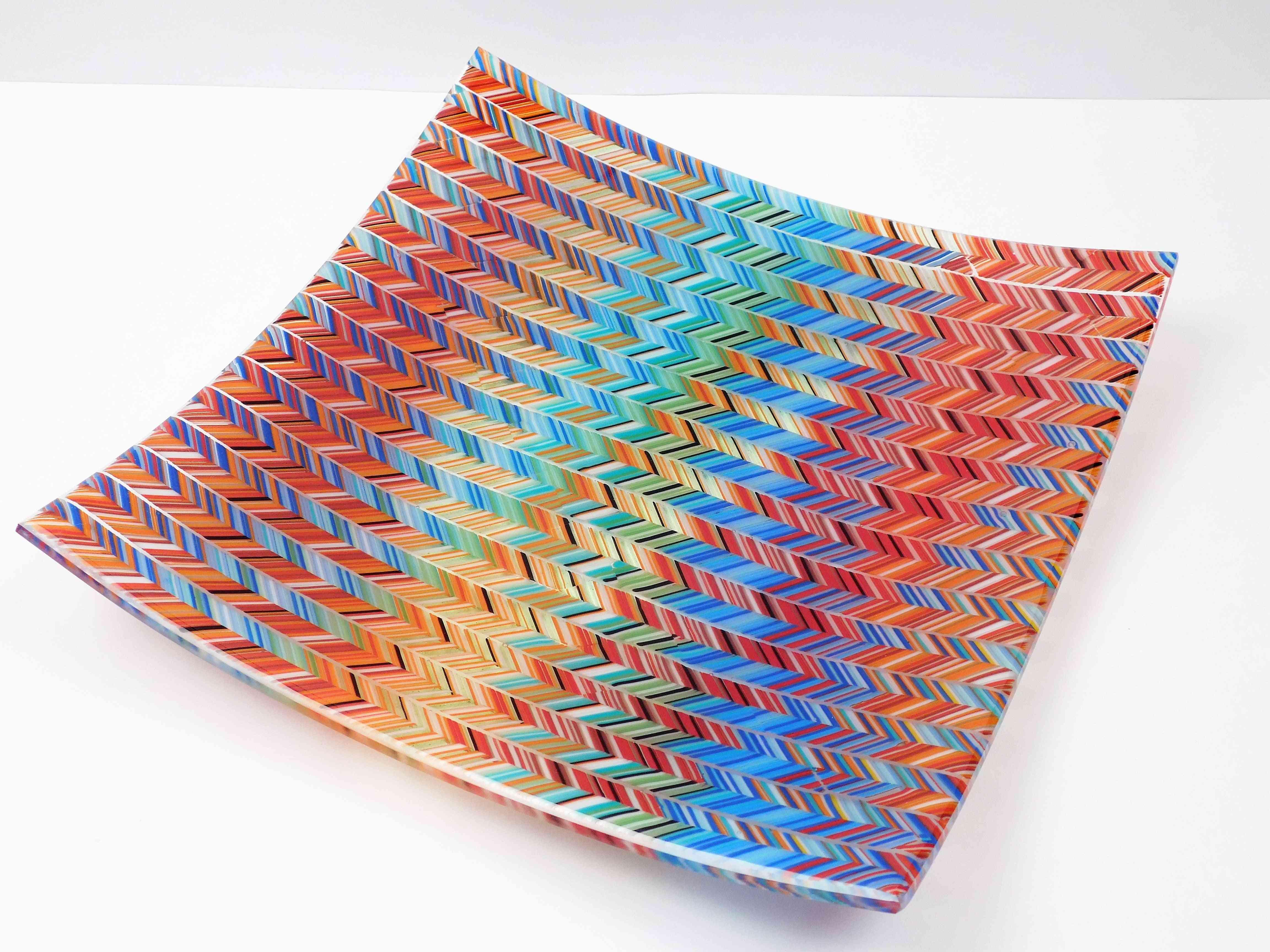 3d Chevron-square Glass Plate