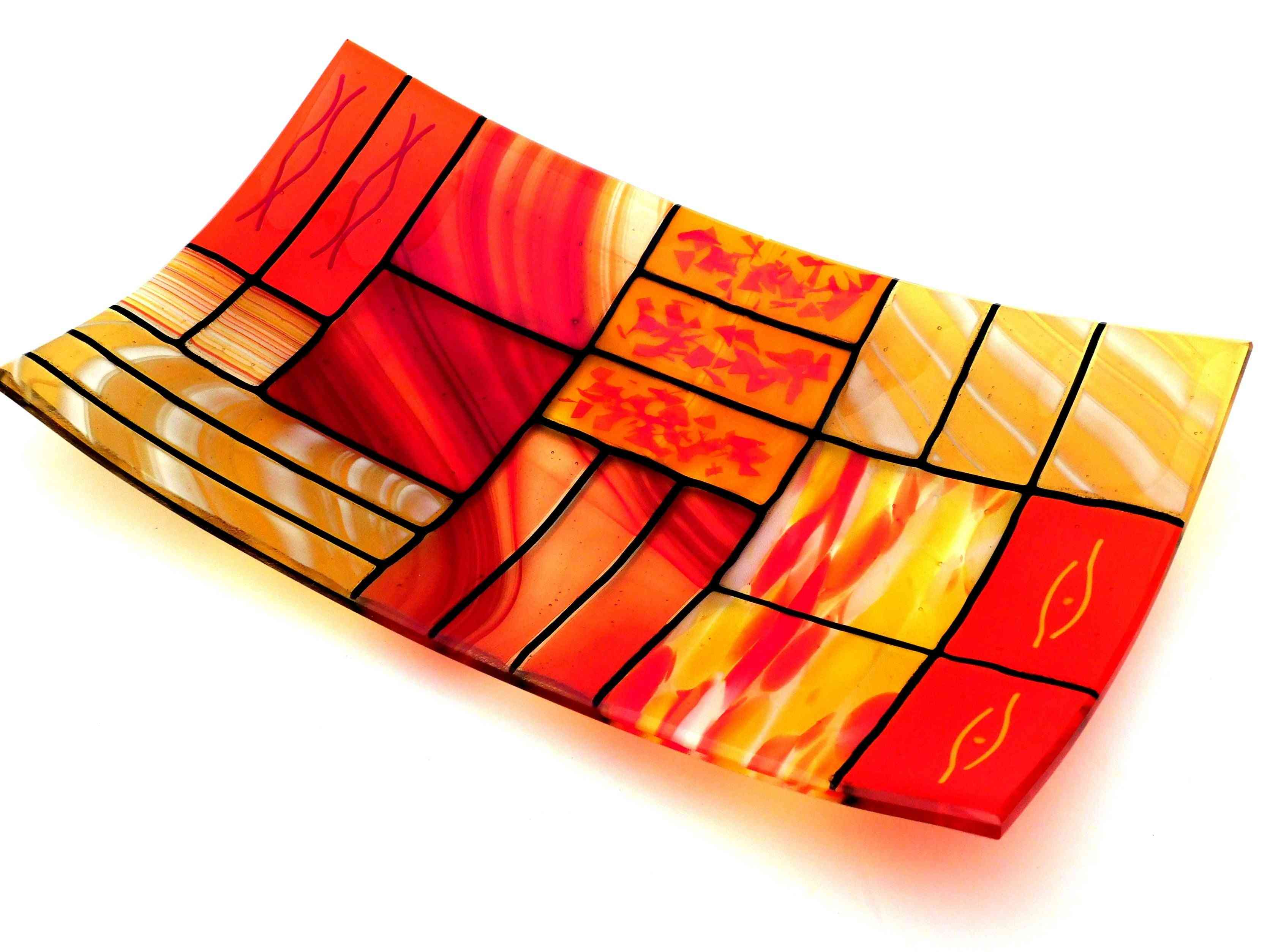 A Rectangular Fused Glass Plate
