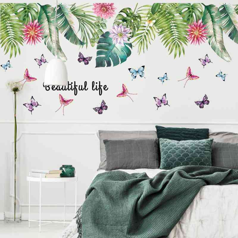 Tropical Green Leaf Wall Stickers