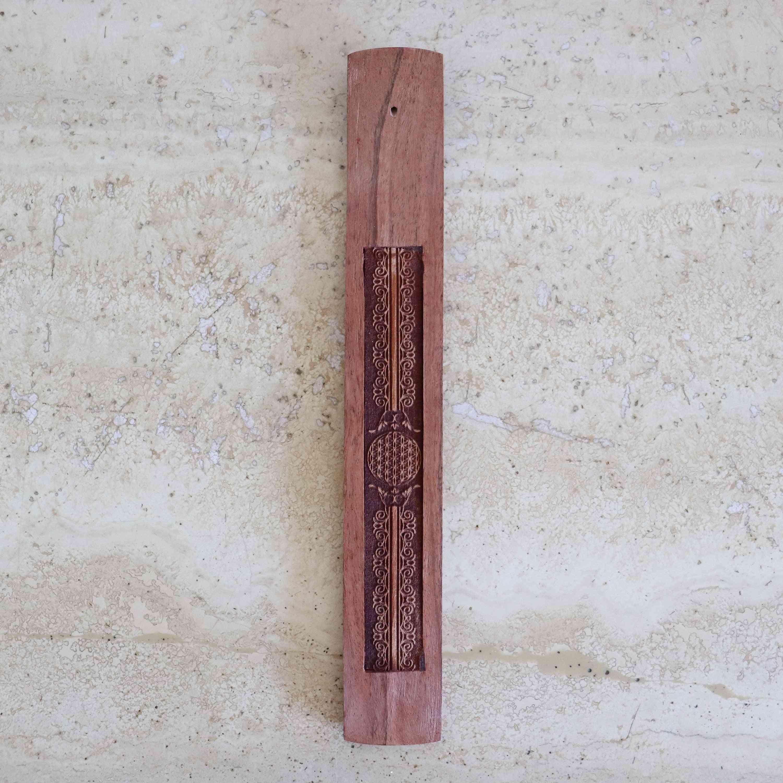 Wood Engraved Flower Of Life Incense Holder