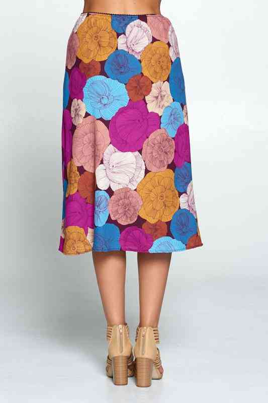 Multi Color Floral Midi Skirt