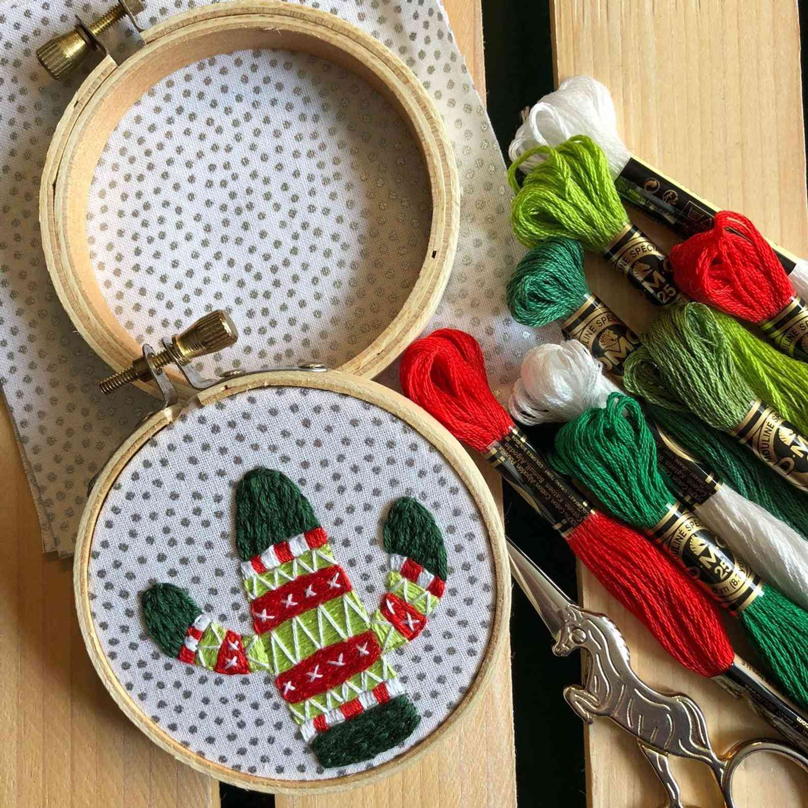 Holiday Sweater Cactus Ornament Diy Hand Embroidery Kit