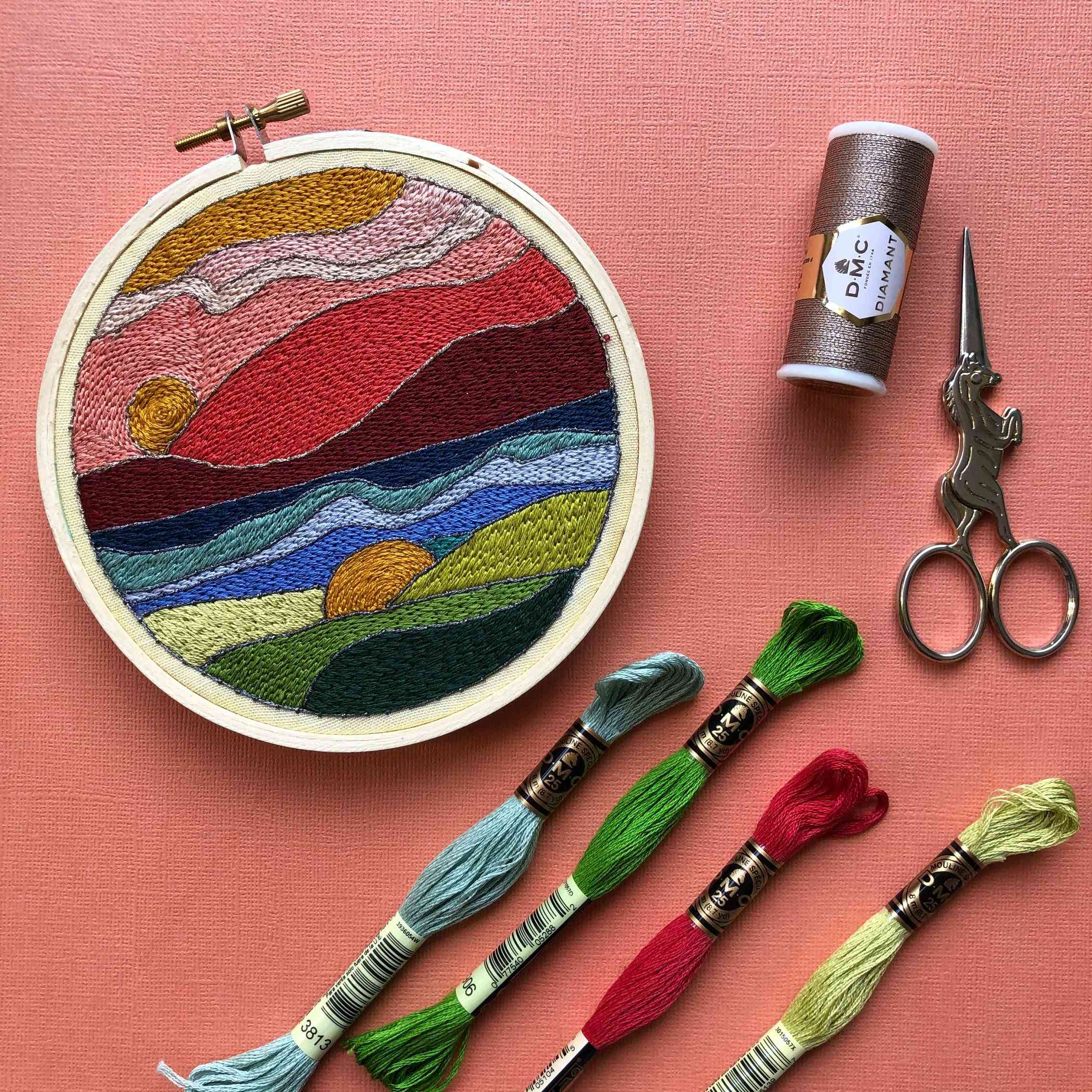Stained Glass Landscape Diy Beginner Embroidery Kit