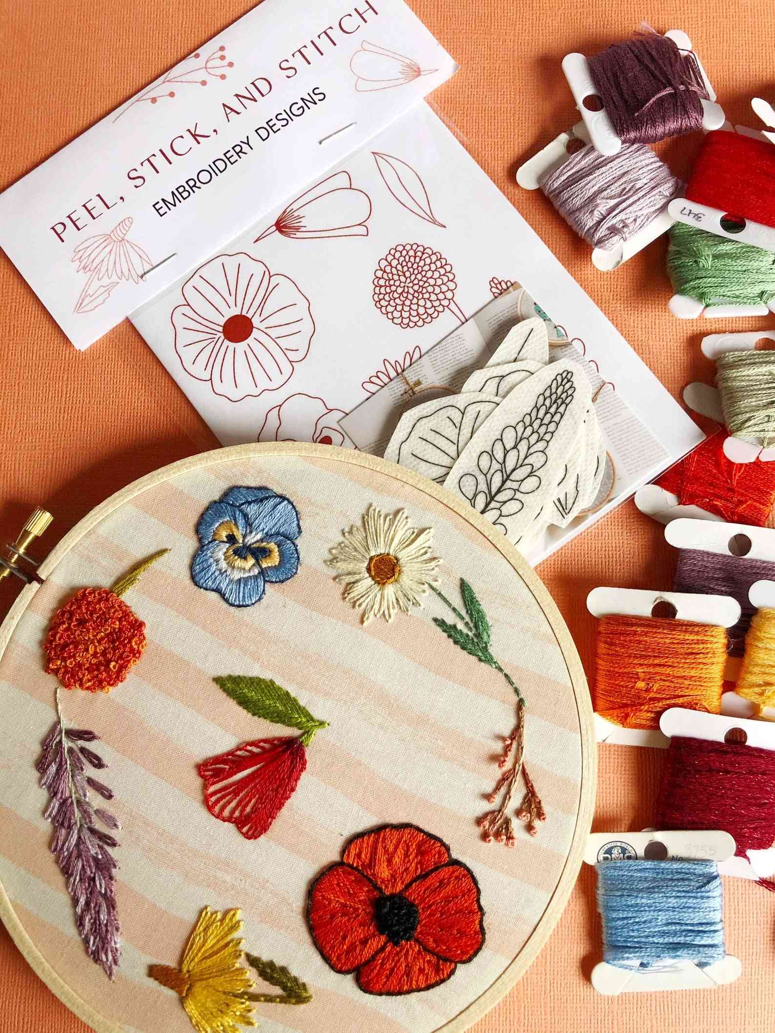 Peel Stick And Stitch Wildflower Designs Diy Embroidery Pattern
