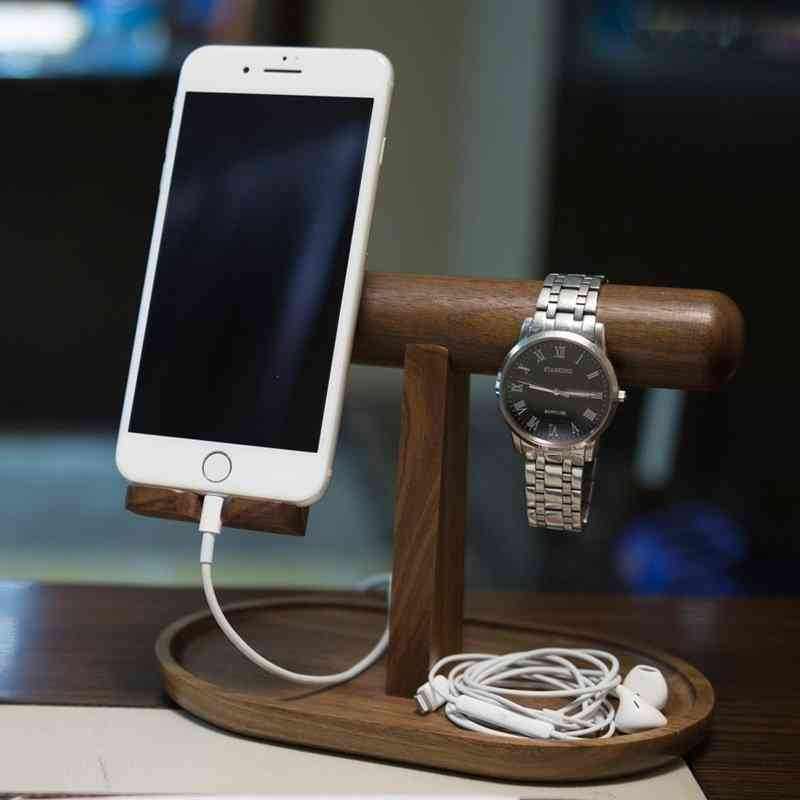 Wood Organizer For Phone Watch And Jewelry