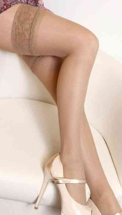 Sheer Classic- Natural Hold-ups, Wide Lacy, Silicone Edge