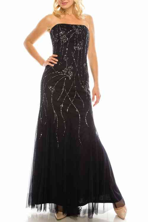 Sequined Pattern- Strapless Evening Gown