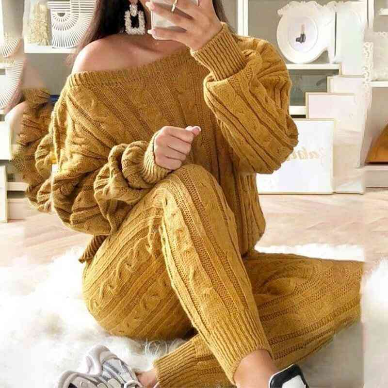 Casual Solid Warm Knitted O-neck Cropped Sweater Trousers Tracksuit