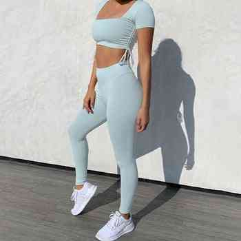 Sport Set Women Outfits Skinny Short Sleeve Crop Top And Pants