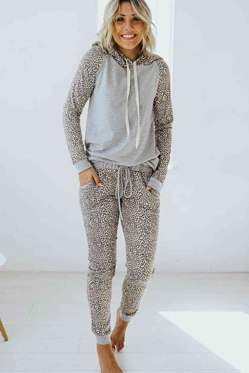 Leopard Print Hoodie And Joggers Set