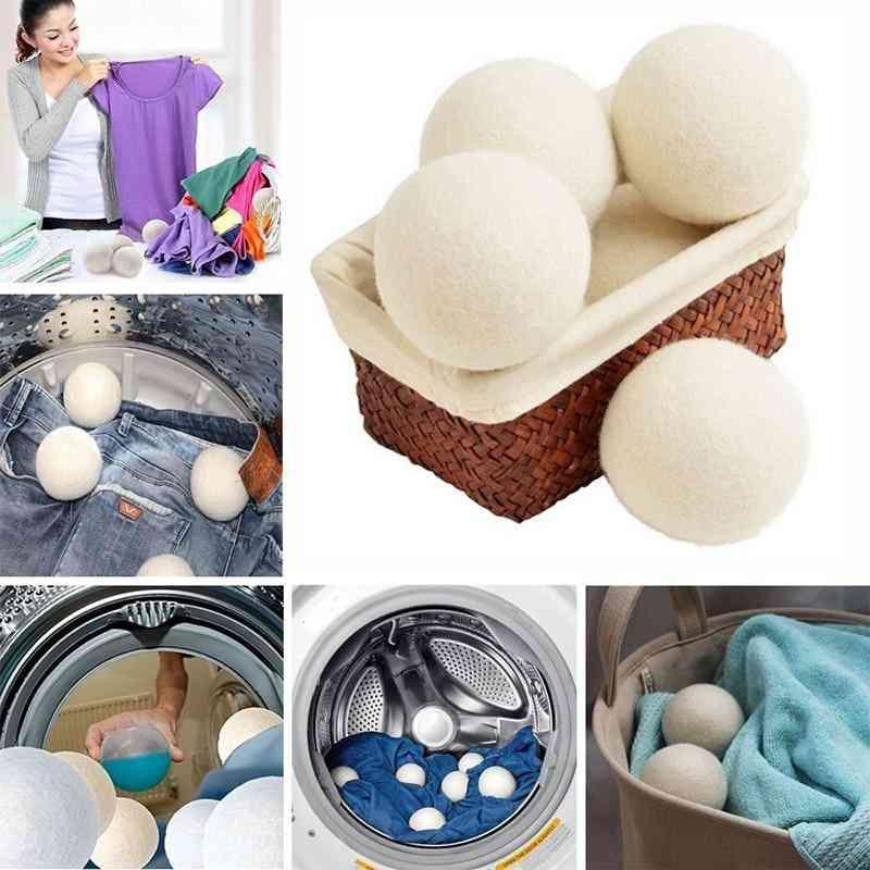 6pcs- Wool Felt Round, White Color With Felt Dryer Ball
