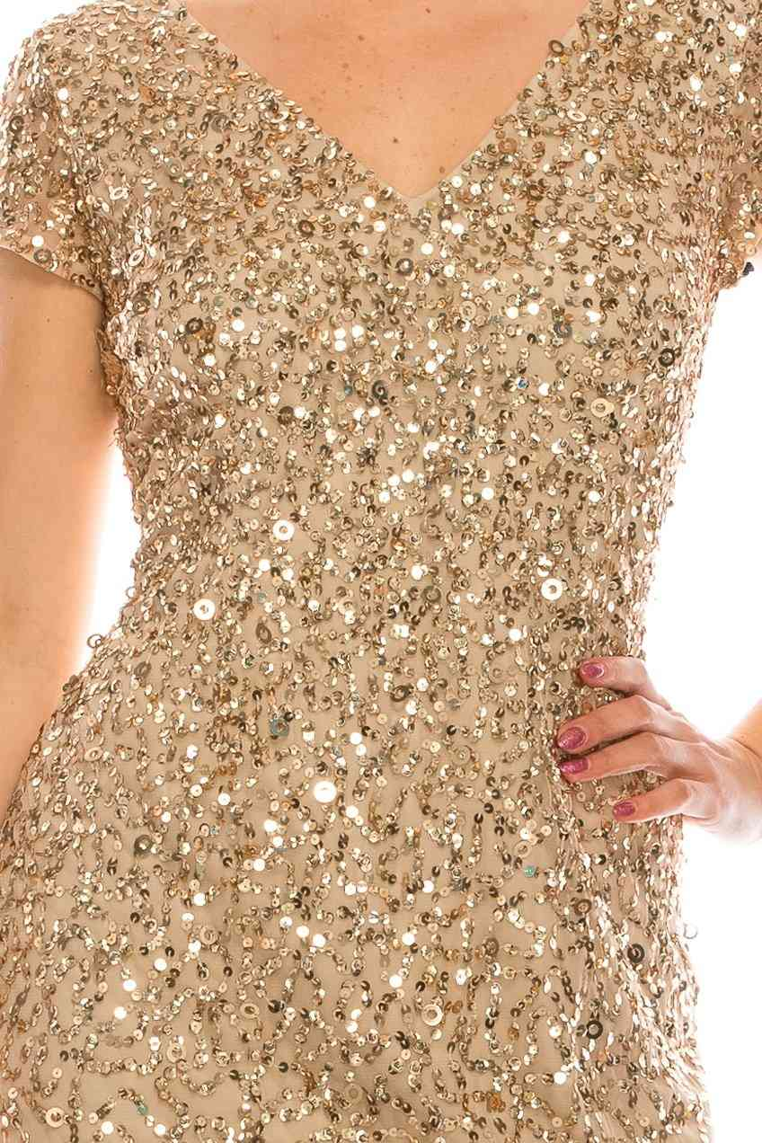 Champagne Gold- Sequined Gown With Front Slit, Short Sleeves Dress