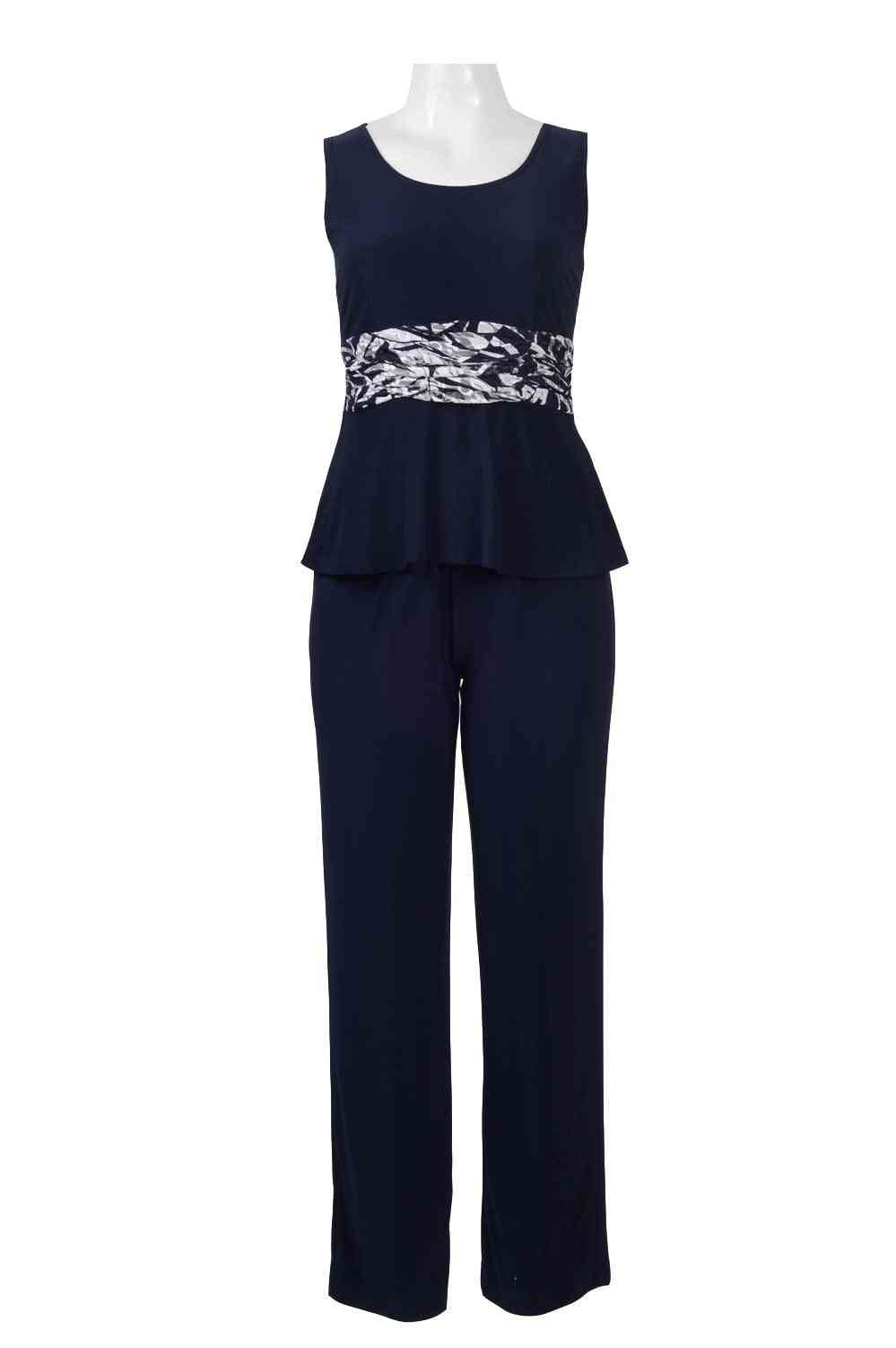 O-neck Sleeveless Popover Jersey Jumpsuit With Lace