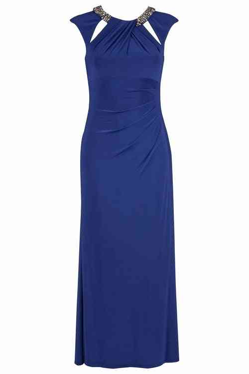 Lassy Extended Cap Sleeve Gown With Jeweled Neckline