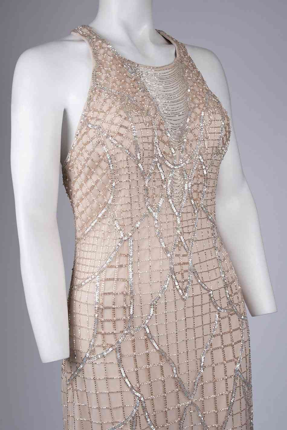 Criss Cross Back, Beaded Gown Dress