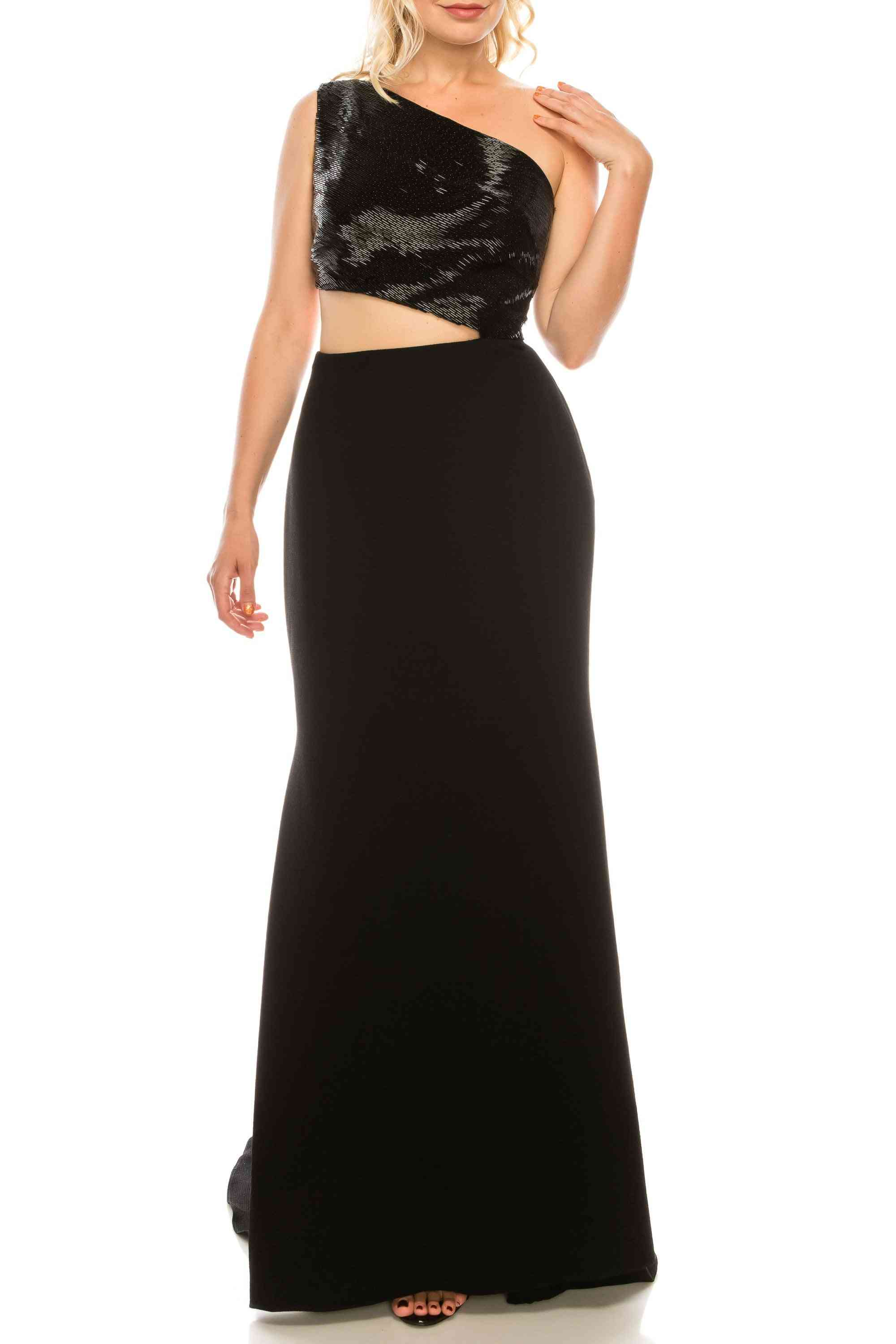 Beaded One Shoulder Evening Gown