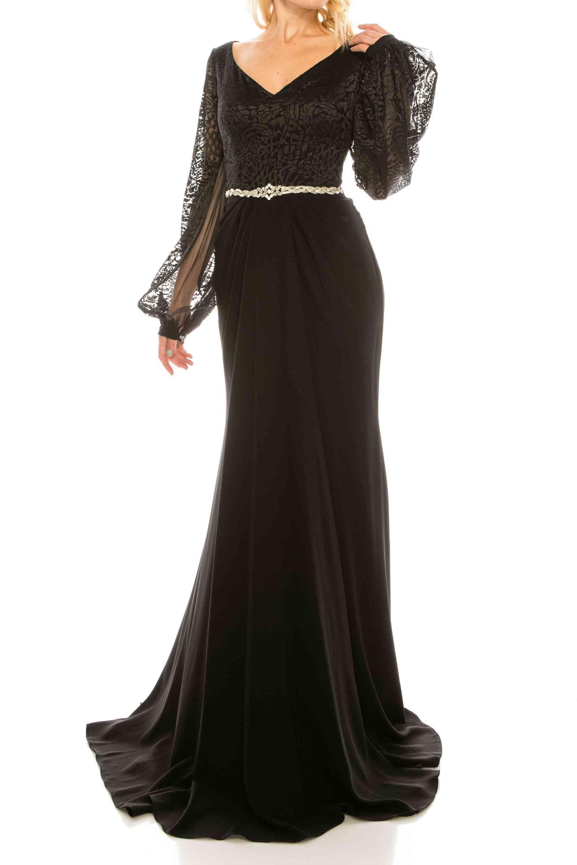 Mesh Jacquard Evening Gown