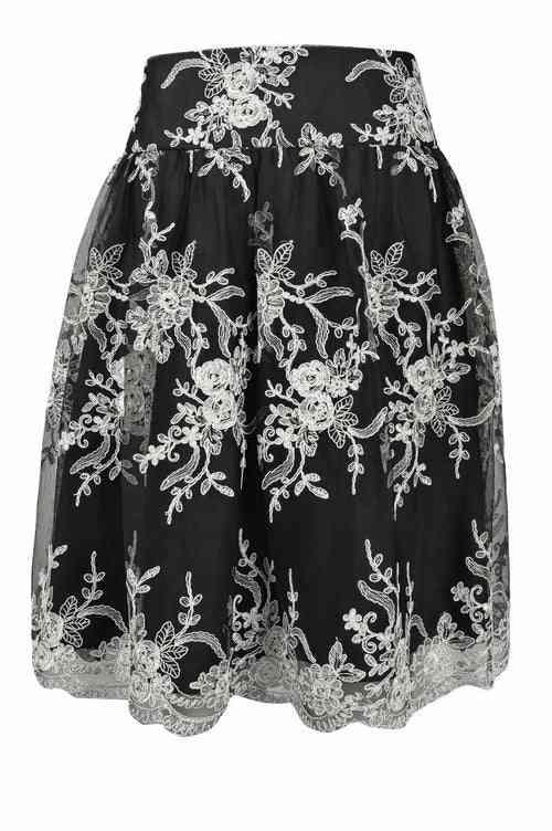Mid Rise Waist Floral Pattern Mesh Skirt
