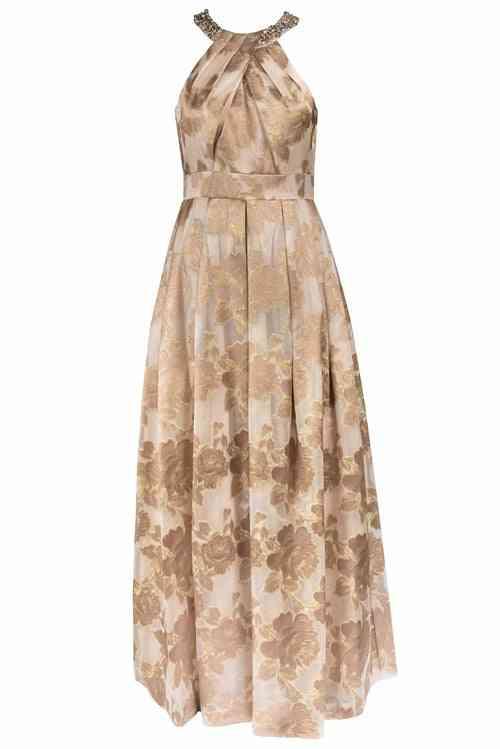 Embellished Jacquard Halter Gown