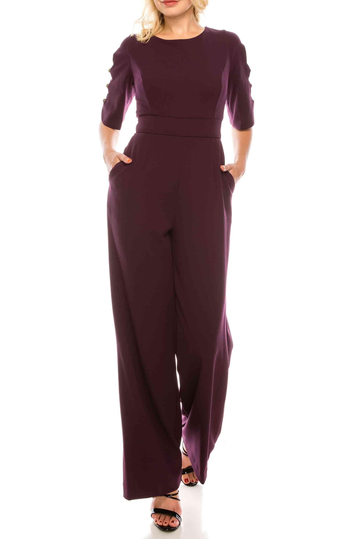 Purple Crepe Arm Cutout Jumpsuit