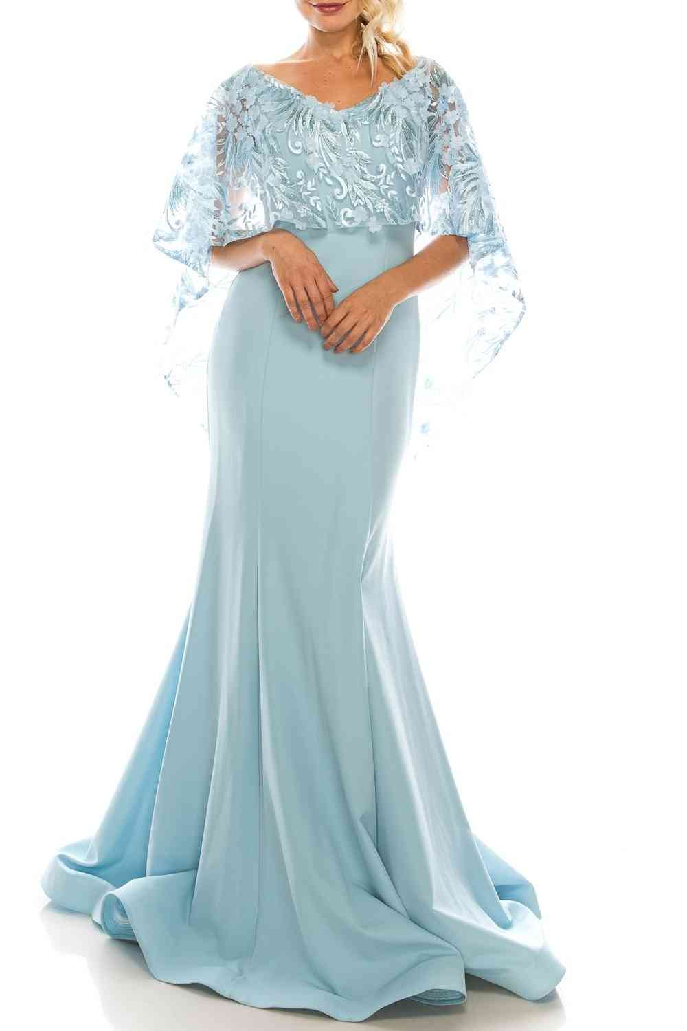 Evening Gown With Embroidered Mesh Cape