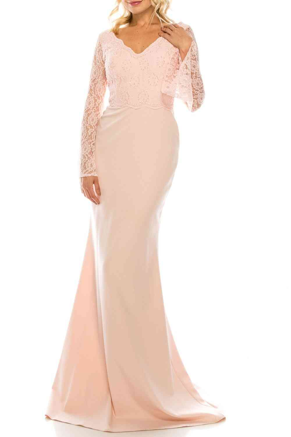 V-neckline Beaded Lace & Crepe, Sheath Evening Gown