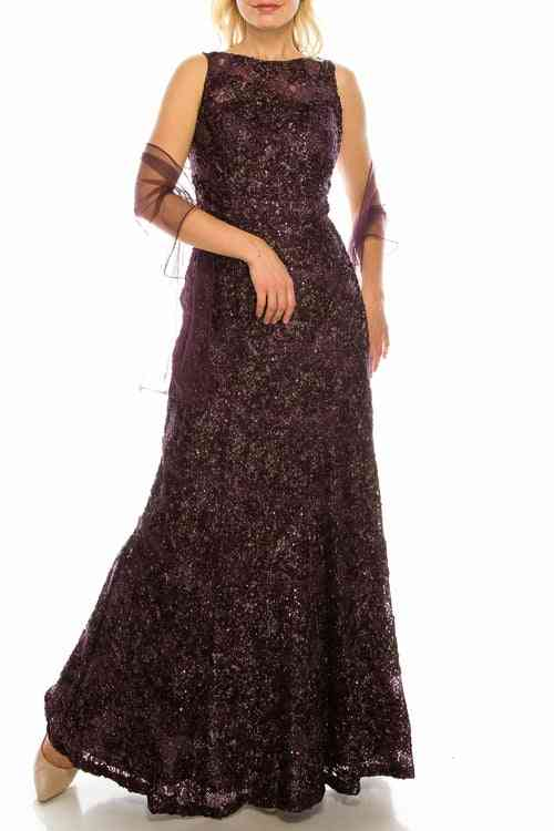 Glittered Floral Appliqued Long Evening Gown
