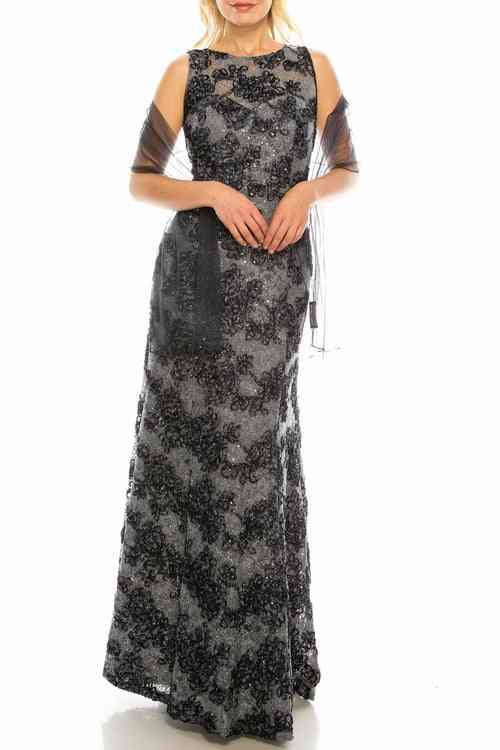 Glittered, Floral Appliqued-long Evening Gown